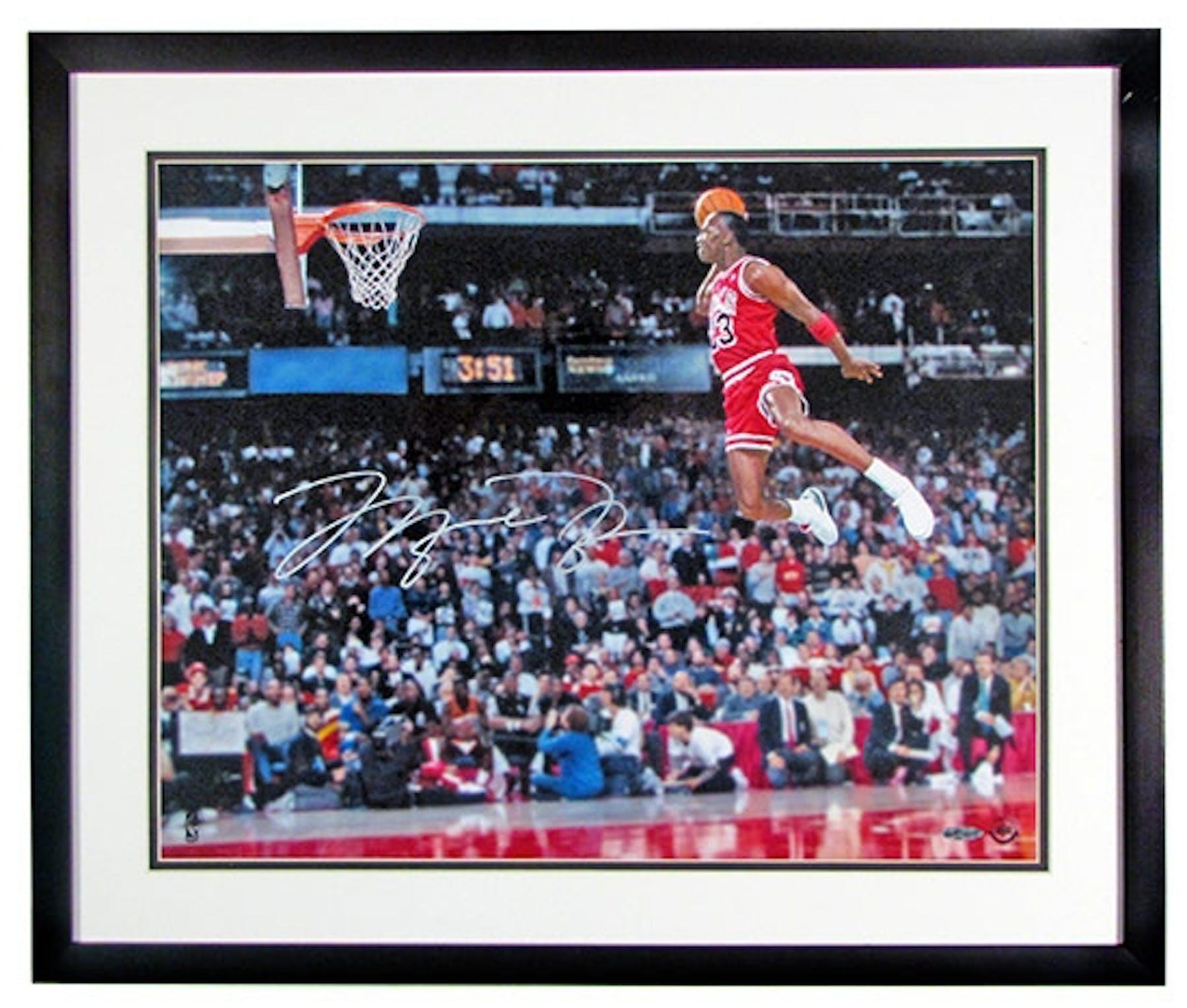 Michael Jordan Autographed Amp Framed Quot Gatorade Slam Dunk