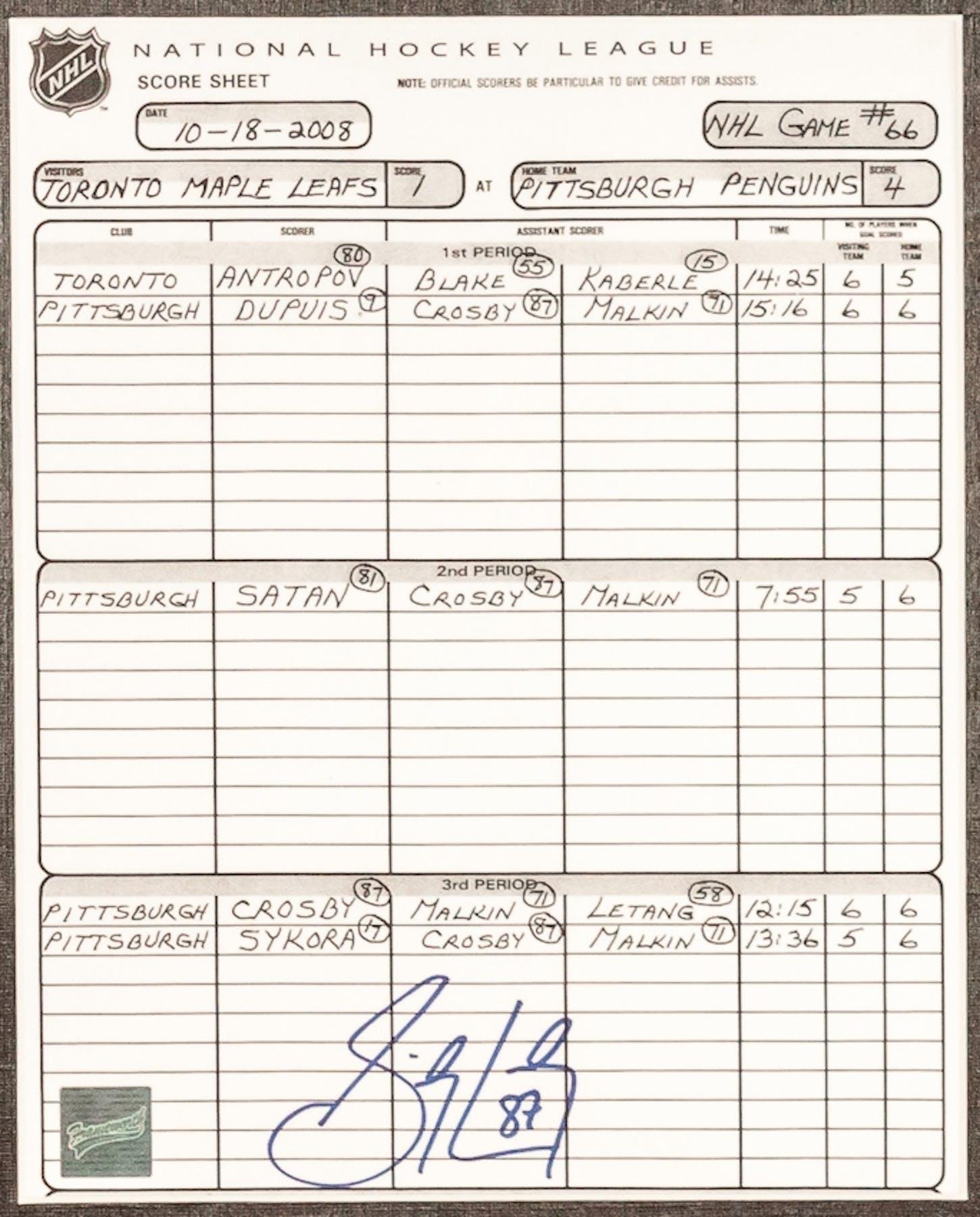 Sidney Crosby Autographed Framed Pittsburgh Penguins NHL Score – Wrestling Score Sheet